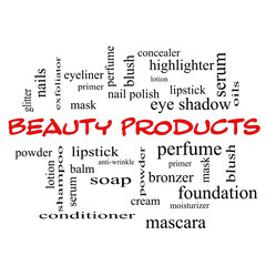 Beauty Products Word Cloud Concept in red caps