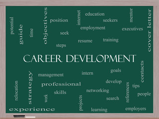 Career Development Word Cloud Concept on a Blackboard