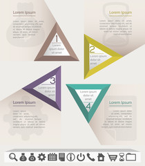 Business infographic chart template with four triangle sections