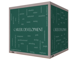 Career Development Word Cloud Concept on a 3D cube Blackboard