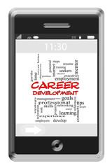 Career Development Word Cloud Concept on Touchscreen Phone