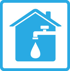 icon with home, spigot and drop of water