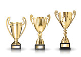 three different kind of golden trophies. Isolated on white backg