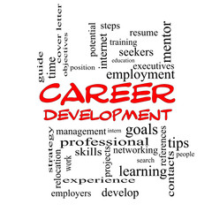 Career Development Word Cloud Concept in red caps