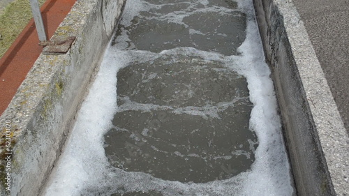 Fragment water treatment dirty bubbling sewage waste water clean