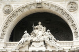 Architectural detail of the Palace of Justice in Rome, Italy