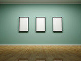 Abstract background. 3D render. Frames on the wall of the room.
