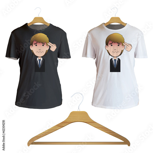Suicide businessman printed on shirt. Vector design.