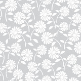 white wild flowers seamless pattern