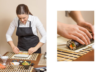Woman chef rolling up sushi and hand work detail