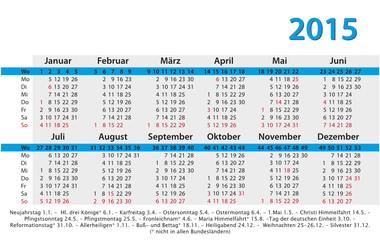 Kalender 2015 Visitenkartenformat mit Feiertagen