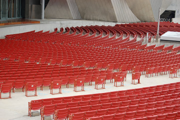 Rows of Red Outdoor Amphitheater Seats