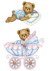 Baby Bear Carriage Set Blue