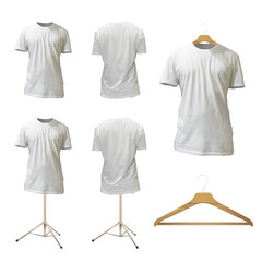 Set of empty white shirt design. Realistic vector illustration.