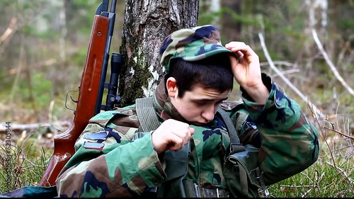 Recruit with optical rifle  in the forest episode 1