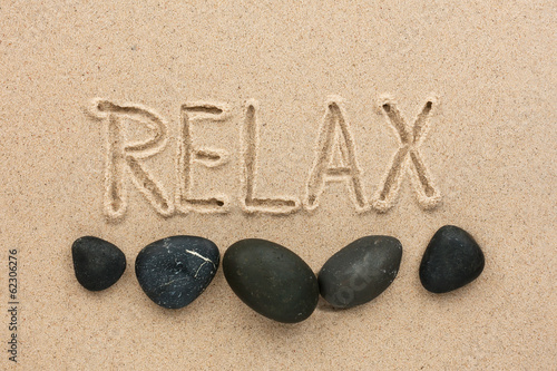 canvas print picture Word  relax  written on the sand