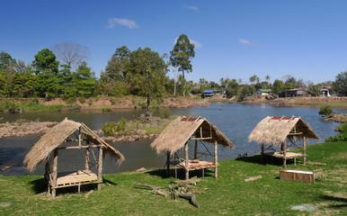 dwelling close to a river, Tad Lo, laos