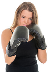 Portrait of Young beautiful boxing girl