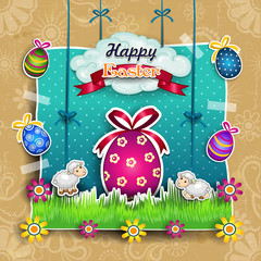 Easter egg with cartoon sheep