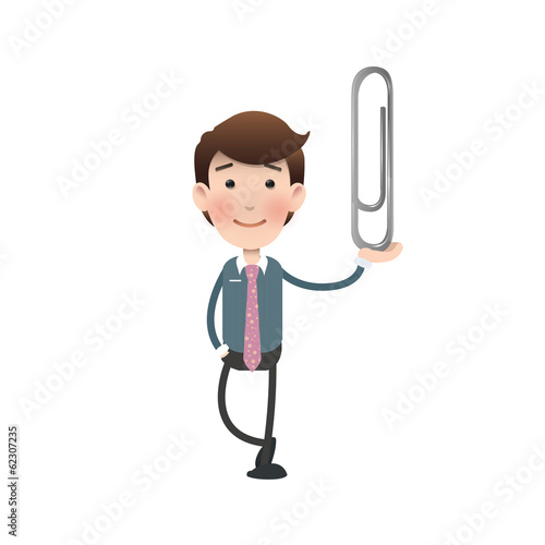Businessman holding a clip over white background