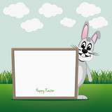 gray bunny look behind board