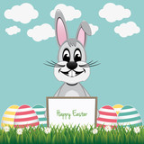 gray bunny behind board colorful eggs