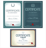 Blue certificate template, set