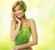 Beautiful young woman in conceptual spring costume