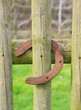fer à cheval sur barrière en bois