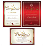 Red certificate template, set