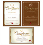 Brown certificate template, set