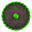 top view of round chocolate cake with green cream isolated on wh