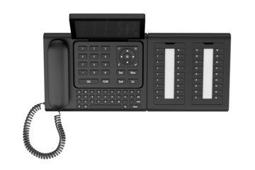 top view of modern office desk phone isolated on white backgroun
