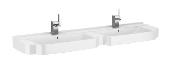 double ceramic bathroom sink isolated on white background
