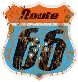 vintage route 66 road sign w. bullet holes, vector