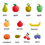 Vector pixel fruit collection