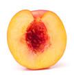 Nectarine fruit half isolated on white background cutout