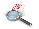 Job search concept with magnifier glass on white paper stack
