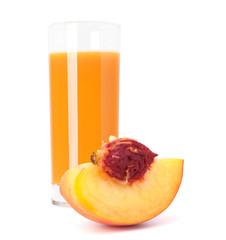 Peach fruit juice in glass