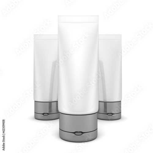 Tubes Of Cream Or Gel Silver White Clean. Cosmetics Product Pack
