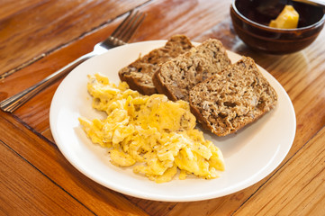 Vegetarian Breakfast of Eggs and Banana Bread
