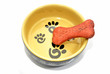 Dog Bone Biscuit in a Feeding Bowl