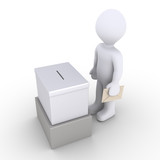 Person standing before a ballot box