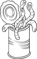 can of worms saying cartoon