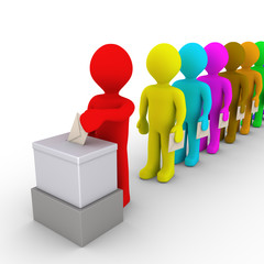 Many people in line take turn to vote