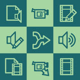 Audio video edit  web icons, green square buttons set