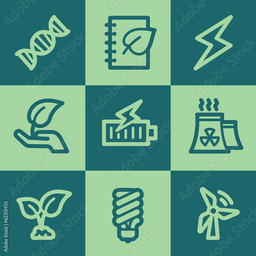 Ecology web icon set 5, green square buttons set