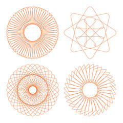 Vector rosettes collection. certificate design elements.