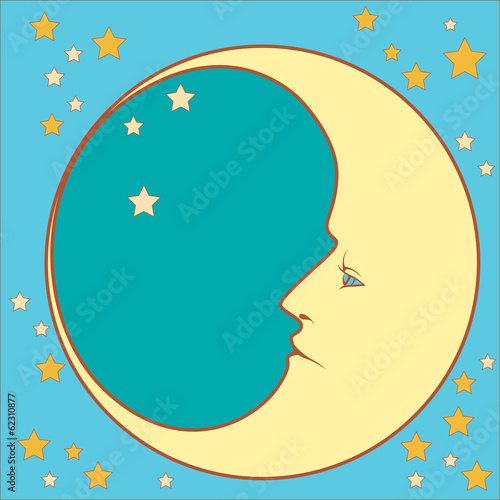crescent moon in profile with stars  in squared