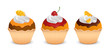 Set of three cupcakes
